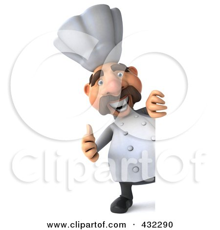 Royalty-Free (RF) Clipart Illustration of a 3d Chef Man Looking Around A Blank Sign, Holding A Thumb Up by Julos