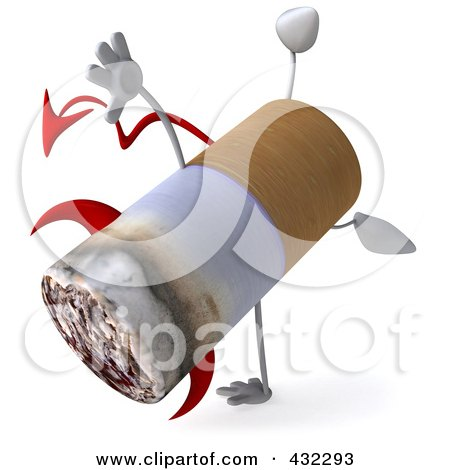 Royalty-Free (RF) Clipart Illustration of a 3d Devil Cigarette Character Doing A Cartwheel by Julos