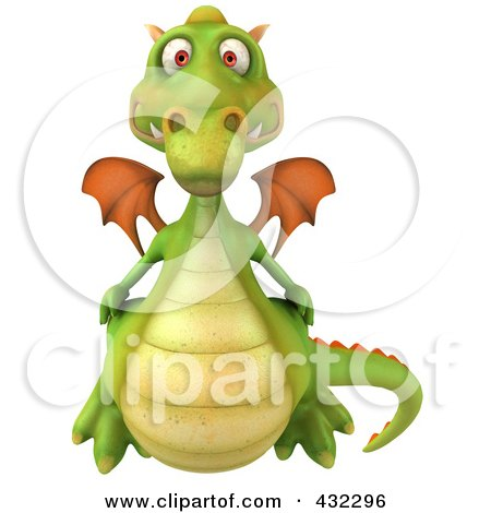 Royalty-Free (RF) Clipart Illustration of a 3d Dragon Flying Forward by Julos