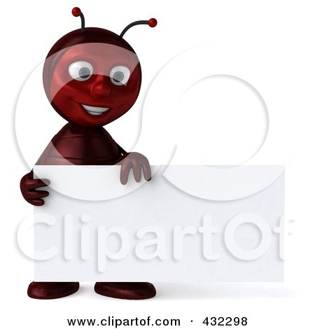 Royalty-Free (RF) Clipart Illustration of a 3d Ant Character Holding A Blank Business Card by Julos