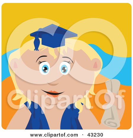 Clipart Illustration of a Blond Caucasian Graduating Girl Holding A Diploma by Dennis Holmes Designs