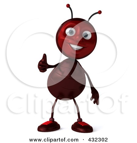 Royalty-Free (RF) Clipart Illustration of a 3d Ant Character Holding A Thumb Up by Julos