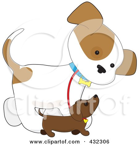 Royalty-Free (RF) Clipart Illustration of a Cute Puppy Walking Alongside A Smaller Dog by Maria Bell