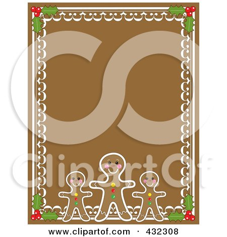 Royalty-Free (RF) Clipart Illustration of a Gingerbread Man, Holly And Frosting Border On Brown Gingerbread by Maria Bell