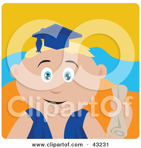 Clipart Illustration of a Blond Caucasian Graduating Boy Holding A Diploma by Dennis Holmes Designs
