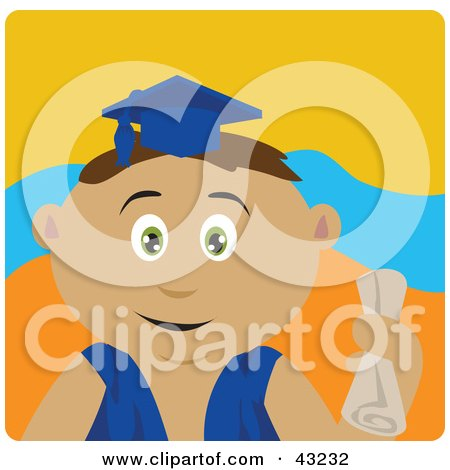 Clipart Illustration of a Hispanic Graduating Boy Holding A Diploma by Dennis Holmes Designs