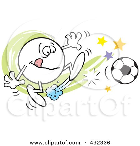 Royalty-Free (RF) Clipart Illustration of a Moodie Character Kicking A Soccer Ball by Johnny Sajem