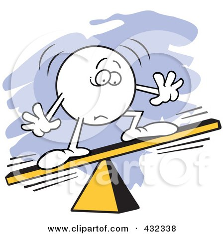 Royalty-Free (RF) Clipart Illustration of a Moodie Character Unbalanced On A Board by Johnny Sajem