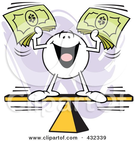 Royalty-Free (RF) Clipart Illustration of a Moodie Character Balanced And Holding Cash On A Board by Johnny Sajem