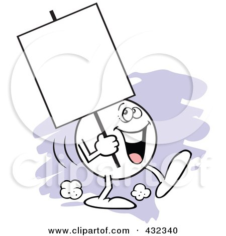Royalty-Free (RF) Clipart Illustration of a Moodie Character Carrying A Blank Sign With A Happy Expression by Johnny Sajem