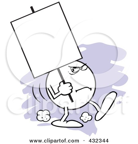 Royalty-Free (RF) Clipart Illustration of a Moodie Character Carrying A Blank Sign With A Scowl by Johnny Sajem