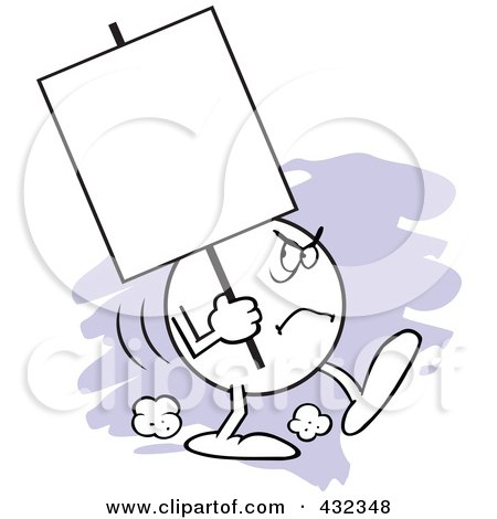 Royalty-Free (RF) Clipart Illustration of a Moodie Character Carrying A Blank Sign With An Angry Expression by Johnny Sajem