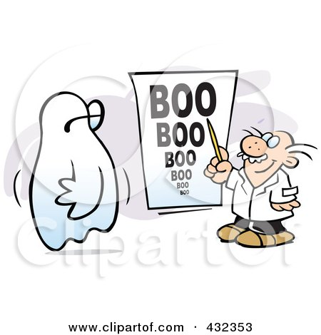 Royalty-Free (RF) Clipart Illustration of an Optometrist Giving A Ghost A Boo Eye Exam by Johnny Sajem