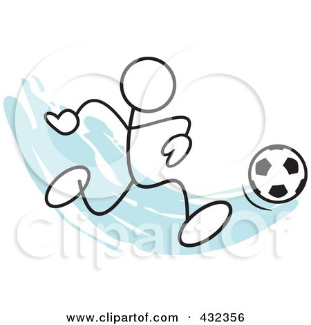 Royalty-Free (RF) Clipart Illustration of a Stickler Man Playing Soccer - 1 by Johnny Sajem
