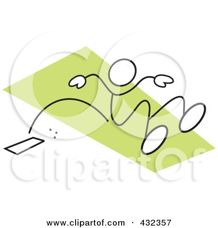 Royalty-Free (RF) Clipart Illustration of a Stickler Man Doing The Long Jump - 2 by Johnny Sajem