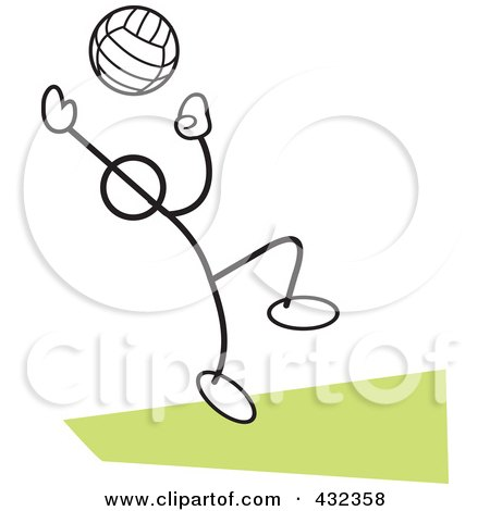 Royalty-Free (RF) Clipart Illustration of a Stickler Man Playing Volleyball - 2 by Johnny Sajem