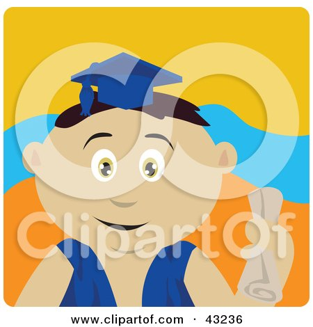 Clipart Illustration of a Mexican Graduating Boy Holding A Diploma by Dennis Holmes Designs
