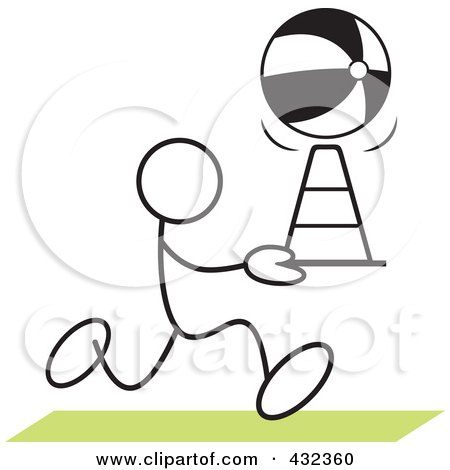 Royalty-Free (RF) Clipart Illustration of a Stickler Man Doing A Cone Race - 1 by Johnny Sajem