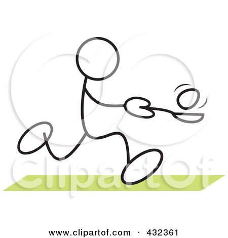 Royalty-Free (RF) Clipart Illustration of a Stickler Man Balancing An Egg On A Spoon In A Relay Race - 1 by Johnny Sajem