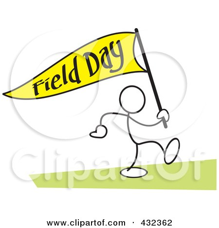 Royalty-Free (RF) Clipart Illustration of a Stickler Man Carrying A Field Day Flag - 2 by Johnny Sajem