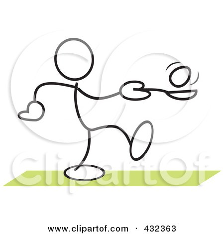 Royalty-Free (RF) Clipart Illustration of a Stickler Man Balancing An Egg On A Spoon In A Relay Race - 3 by Johnny Sajem