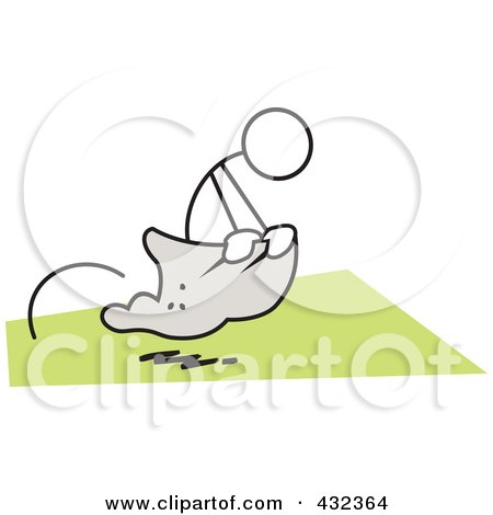 Royalty-Free (RF) Clipart Illustration of a Stickler Man Competing In A Potato Sack Race - 1 by Johnny Sajem