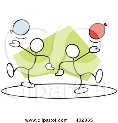 Royalty-Free (RF) Clip Art Illustration of Stickler Men With Balloons In A Circle - 2 by Johnny Sajem
