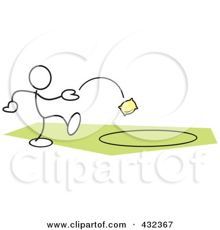 Royalty-Free (RF) Clipart Illustration of a Stickler Man Tossing A Bag In A Circle - 2 by Johnny Sajem