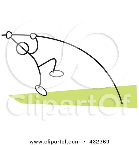 Royalty-Free (RF) Clipart Illustration of a Stickler Man Doing The Pole Vault - 2 by Johnny Sajem