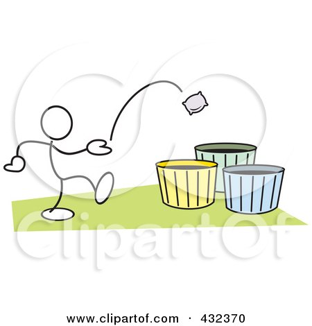 Royalty-Free (RF) Clipart Illustration of a Stickler Man Tossing A Bag Into A Basket - 1 by Johnny Sajem