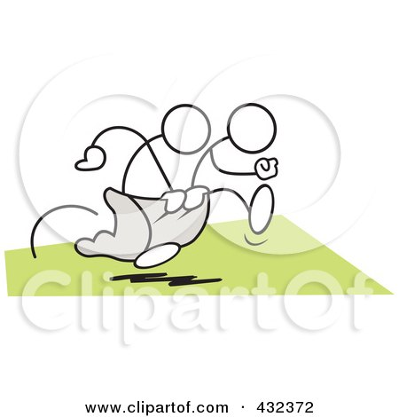 Royalty-Free (RF) Clipart Illustration of Stickler Men Working Together In A Three Legged Race - 2 by Johnny Sajem