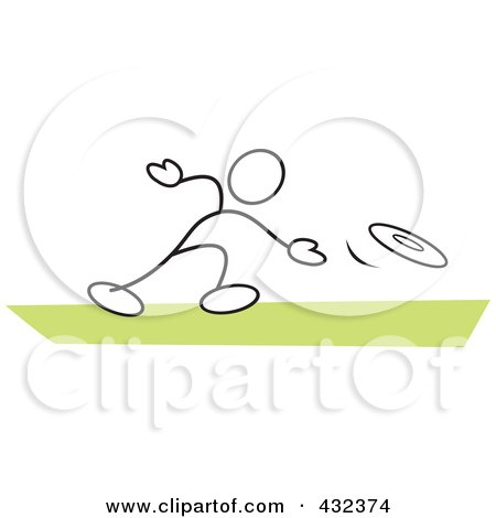 Royalty-Free (RF) Clipart Illustration of a Stickler Man Throwing A Frisbee - 2 by Johnny Sajem
