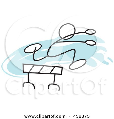 Royalty-Free (RF) Clipart Illustration of a Stickler Man Leaping A Hurdle - 1 by Johnny Sajem