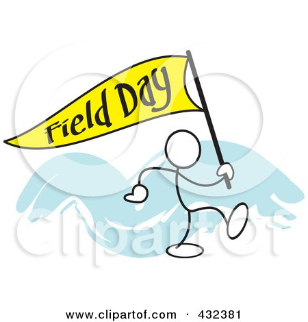 Royalty-Free (RF) Clipart Illustration of a Stickler Man Carrying A Field Day Flag - 1 by Johnny Sajem
