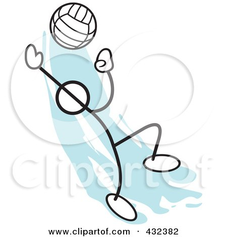 Royalty-Free (RF) Clipart Illustration of a Stickler Man Playing Volleyball - 1 by Johnny Sajem