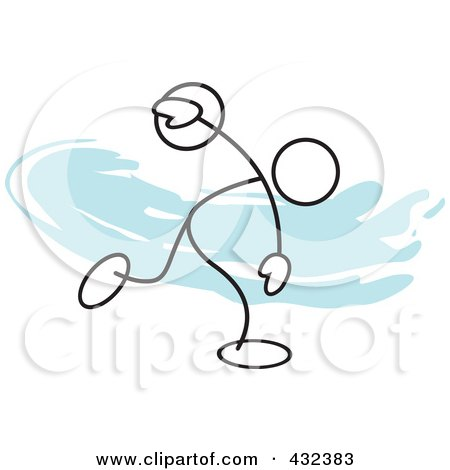 Royalty-Free (RF) Clipart Illustration of a Stickler Man Throwing A Discus - 1 by Johnny Sajem