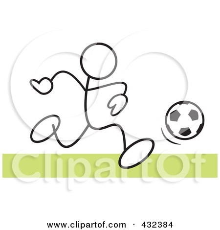 Royalty-Free (RF) Clipart Illustration of a Stickler Man Playing Soccer - 2 by Johnny Sajem