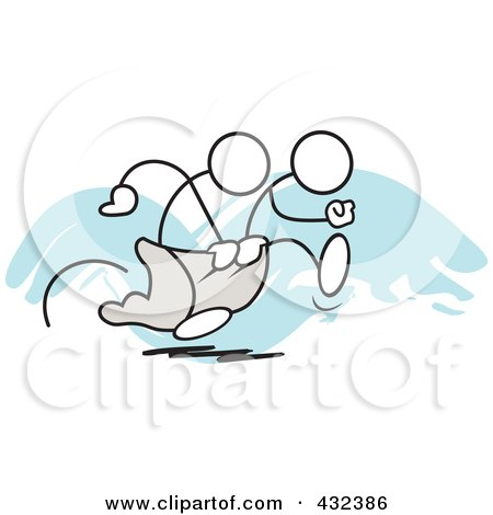 Royalty-Free (RF) Clipart Illustration of Stickler Men Working Together In A Three Legged Race - 1 by Johnny Sajem