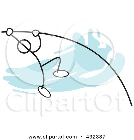 Royalty-Free (RF) Clipart Illustration of a Stickler Man Doing The Pole Vault - 1 by Johnny Sajem