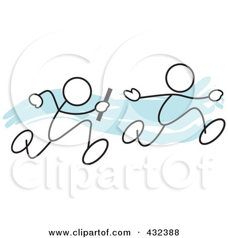 Royalty-Free (RF) Clipart Illustration of Stickler Men Running A Relay Race - 1 by Johnny Sajem