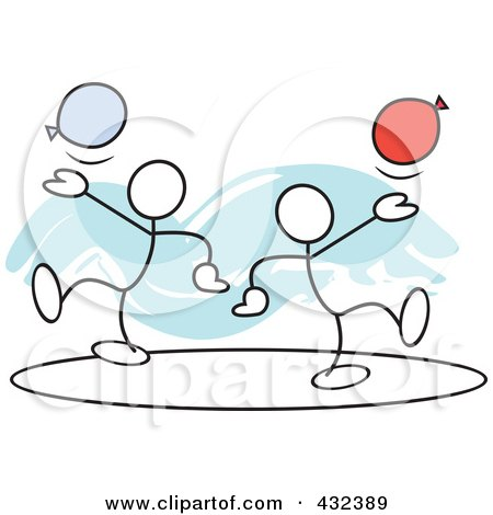 Royalty-Free (RF) Clipart Illustration of Stickler Men With Balloons In A Circle - 1 by Johnny Sajem
