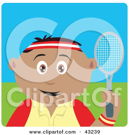 Clipart Illustration of a Sporty Hispanic Boy Playing Tennis by Dennis Holmes Designs