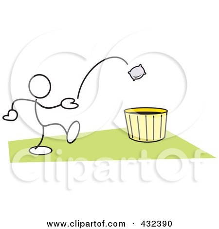 Royalty-Free (RF) Clipart Illustration of a Stickler Man Tossing A Bag Into A Basket - 3 by Johnny Sajem