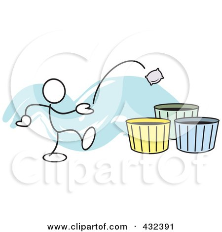 Royalty-Free (RF) Clipart Illustration of a Stickler Man Tossing A Bag Into A Basket - 2 by Johnny Sajem
