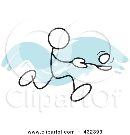 Royalty-Free (RF) Clipart Illustration of a Stickler Man Balancing An Egg On A Spoon In A Relay Race - 2 by Johnny Sajem