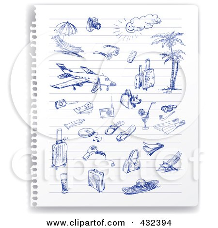 Royalty-Free (RF) Clipart Illustration of a Torn Out Ruled Page Of Blue Ink Travel Sketches by Eugene
