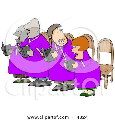 Men and Women in a Church Chorus Singing from a Bible Books Clipart by djart