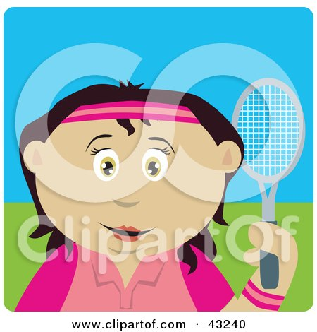 Clipart Illustration of a Latin American Girl Holding A Tennis Racket by Dennis Holmes Designs