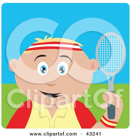 Clipart Illustration of a Sporty Caucasian Boy Playing Tennis by Dennis Holmes Designs