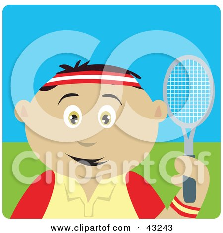 Clipart Illustration of a Sporty Mexican Boy Playing Tennis by Dennis Holmes Designs
